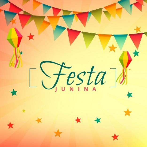 フェスタジュニーナイベント祭りのデザイン 無料ベクター