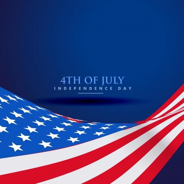 波のスタイルでアメリカ国旗 無料ベクター