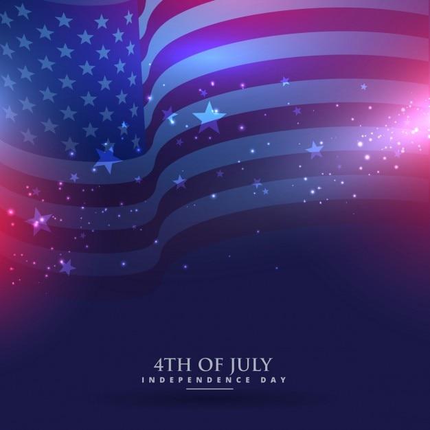 美しいアメリカの国旗の背景 無料ベクター