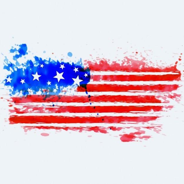 水彩画で作られたアメリカ国旗 無料ベクター
