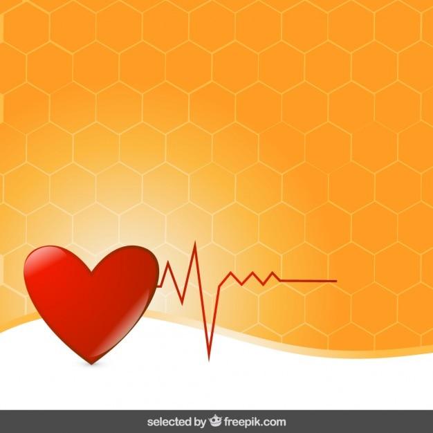 オレンジ色の背景にハートの心電図 無料ベクター