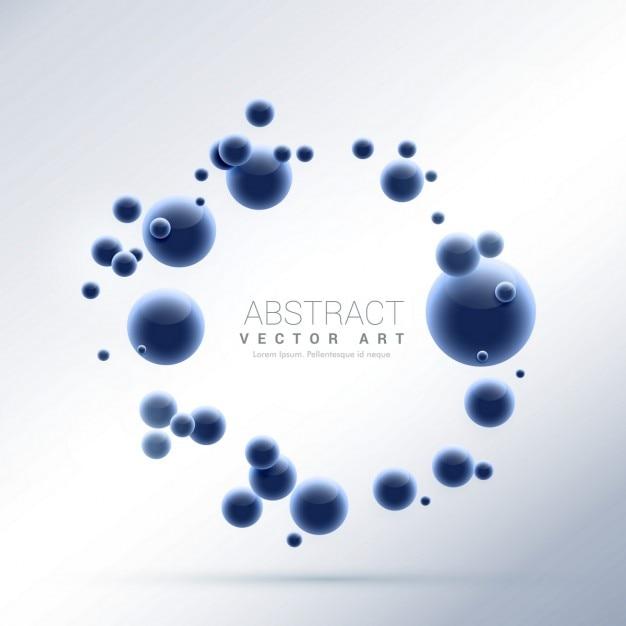青色の抽象的な分子粒子の背景 無料ベクター