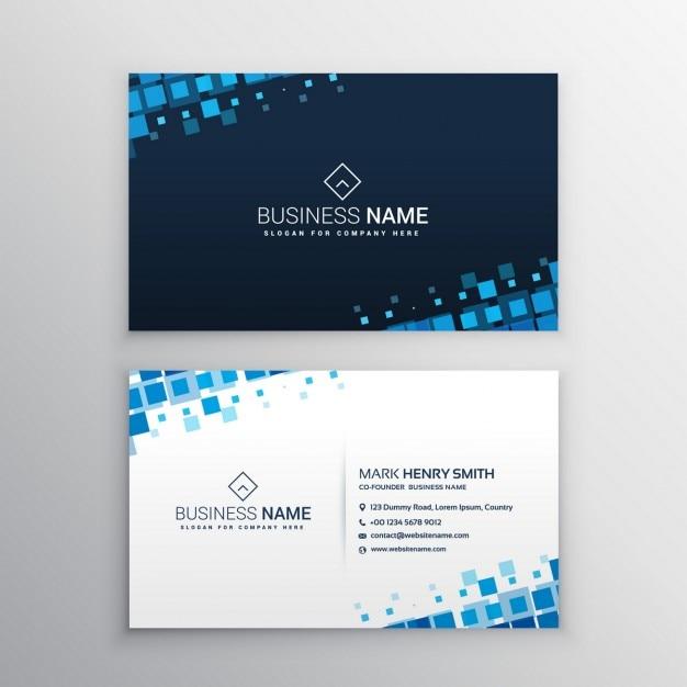 Абстрактные визитные карточки с голубыми формами мозаики Бесплатные векторы