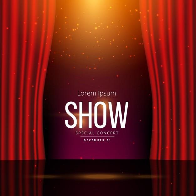 劇場の舞台と背景テンプレート 無料ベクター