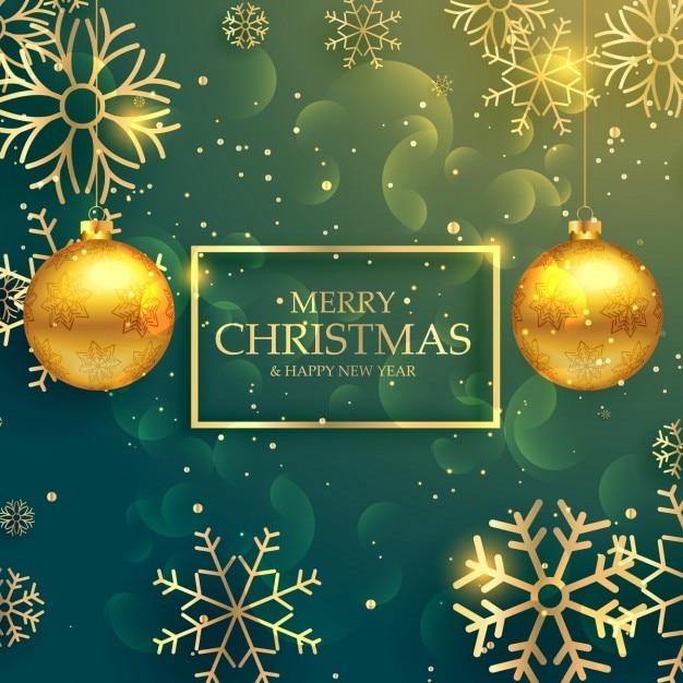 Стильные золотые рождественские шары на фоне роскошного стиля Бесплатные векторы