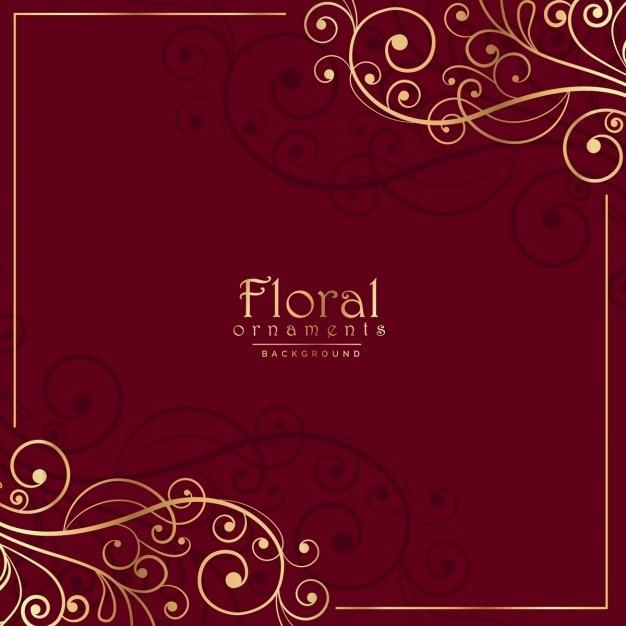 花の飾りと赤い背景 無料ベクター