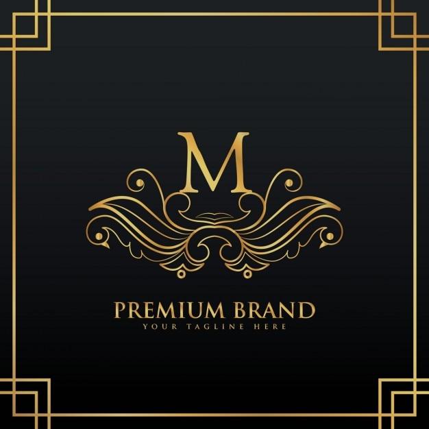 花のスタイルで作られたエレガントな黄金のプレミアムブランドロゴコンセプト 無料ベクター