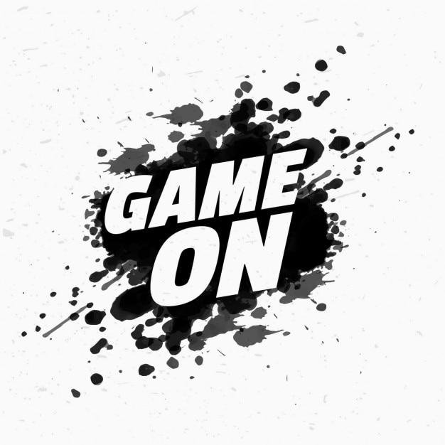 Игра на сообщение на черном всплеск чернил Бесплатные векторы