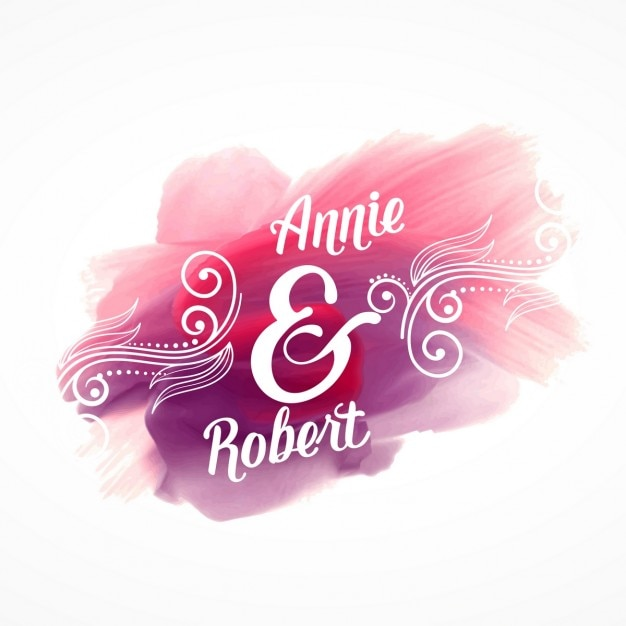 結婚式の招待状の詳細と美しいピンクのペイントストロークの効果 無料ベクター