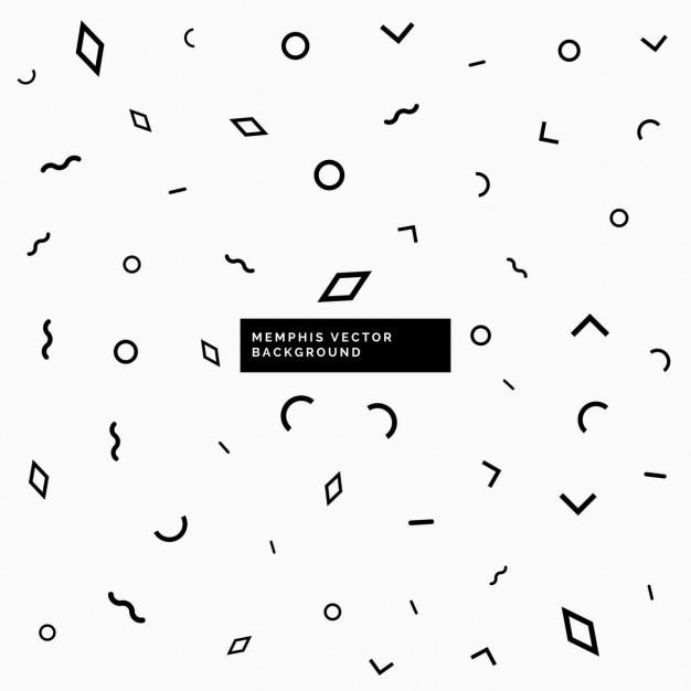 幾何学的な形で黒と白のメンフィスの背景 無料ベクター