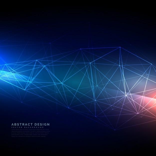 デジタルスタイルで抽象的な技術のワイヤーフレームメッシュ 無料ベクター
