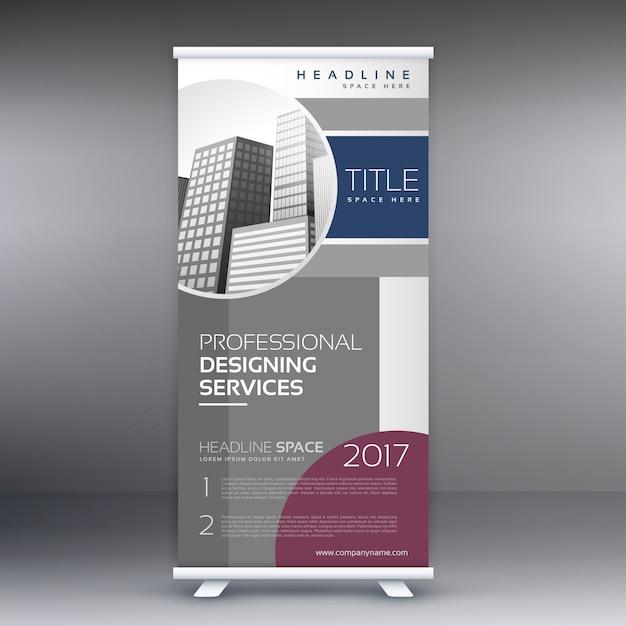 ビジネスプレゼンテーションのための専門のロールアップ立ち見客バナーデザインコンセプト 無料ベクター