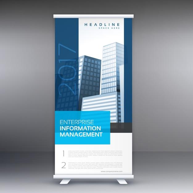 ビジネス情報を持つ単純な青立ち見客ロールアップバナーデザイン 無料ベクター