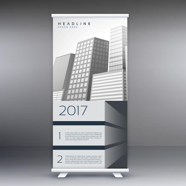 灰色の立ち見客は、マーケティングやプロモーションのバナーテンプレートのデザインコンセプトをロールアップ 無料ベクター