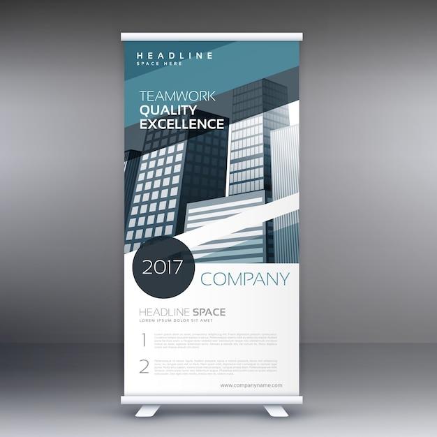 青色の抽象的なビジネスの立ち客は、プレゼンテーションバナーコンセプトデザインをロールアップ 無料ベクター