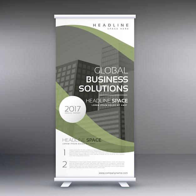 エレガントな緑の波状のビジネス立ち客ロールアップバナーデザインテンプレート 無料ベクター
