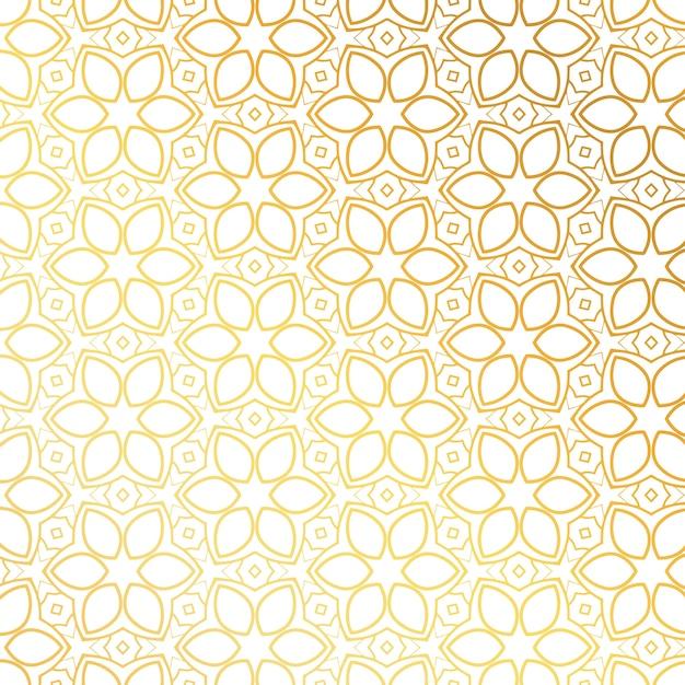 黄金の花パターン背景デザイン 無料ベクター