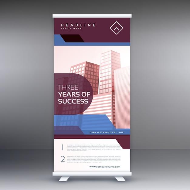 ビジネスロールアップバナーベクトルのデザインの背景 無料ベクター
