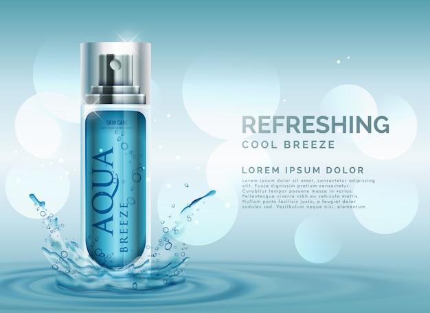 水のスプラッシュとさわやかな化粧品のスプレー広告コンセプト 無料ベクター