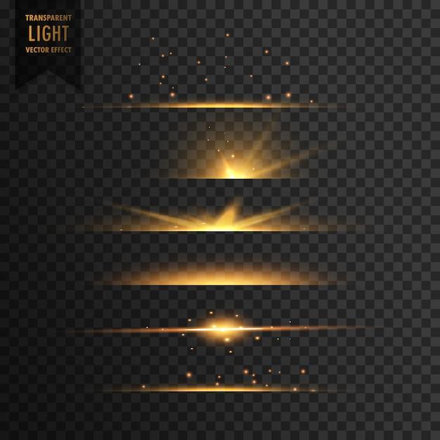 金色の星透明な光の効果の背景のセット 無料ベクター