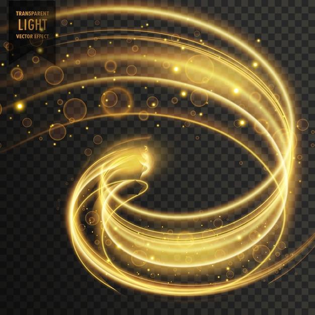 抽象的な黄金の透明な光の効果の背景 無料ベクター