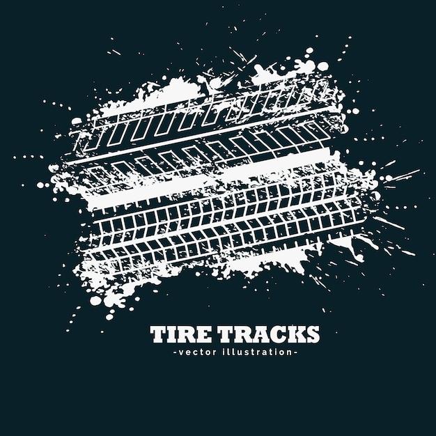 暗い背景に抽象的なグレータイヤのトラックマーク 無料ベクター