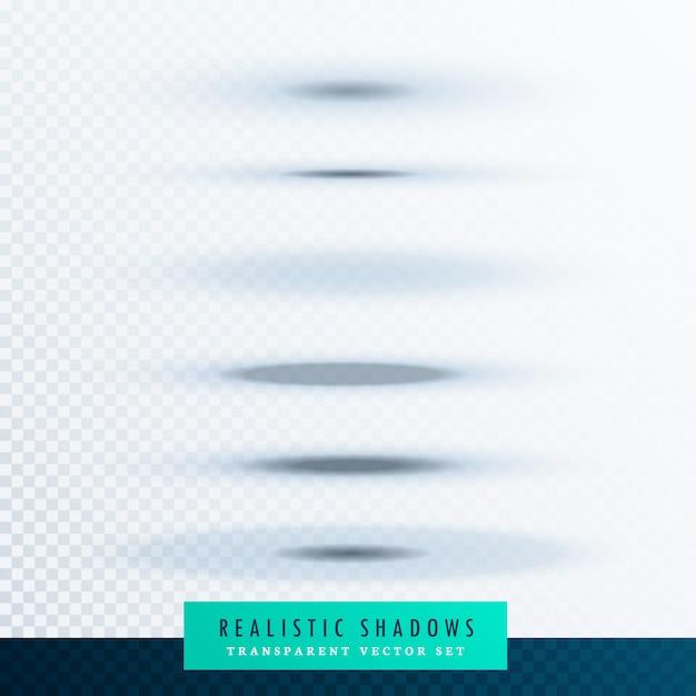 透明な背景に楕円形の紙の影の効果のセット 無料ベクター