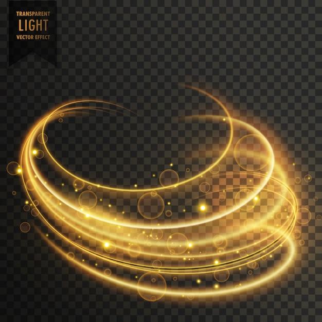 輝きを伴う金色の曲線の透明な照明効果 無料ベクター