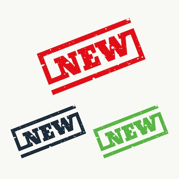 新しい記号とシンボルのゴム印 無料ベクター