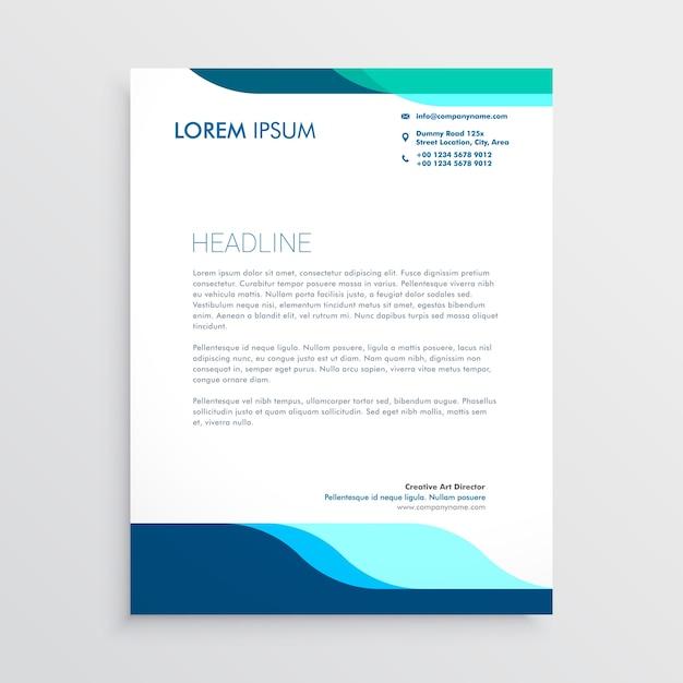 Современный дизайн фирменного бланка с чистыми синими формами Бесплатные векторы