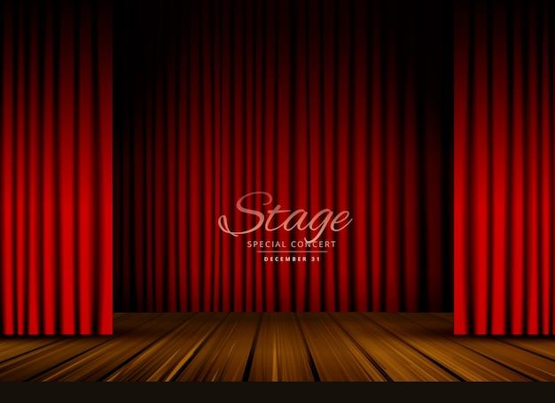Открытый красный занавес театра театра или оперный фон с деревянным полом Бесплатные векторы