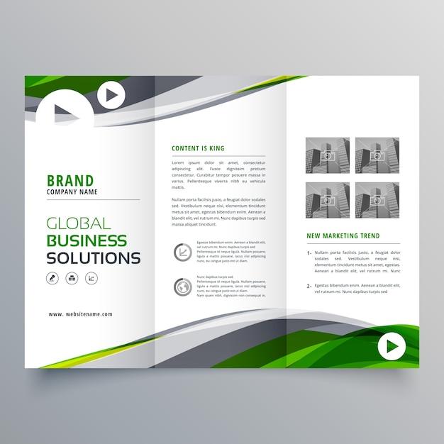 緑と灰色の波状の創造的な三つ組のパンフレットデザイン 無料ベクター