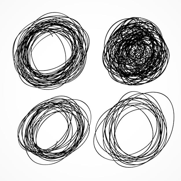 手で描かれた円の落書きセット 無料ベクター