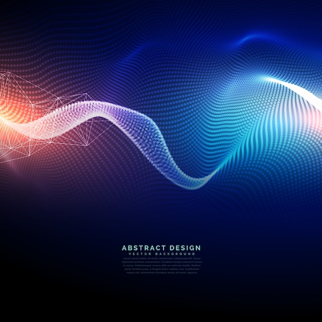 波の未来的なスタイルのテクノロジーデジタル背景 無料ベクター