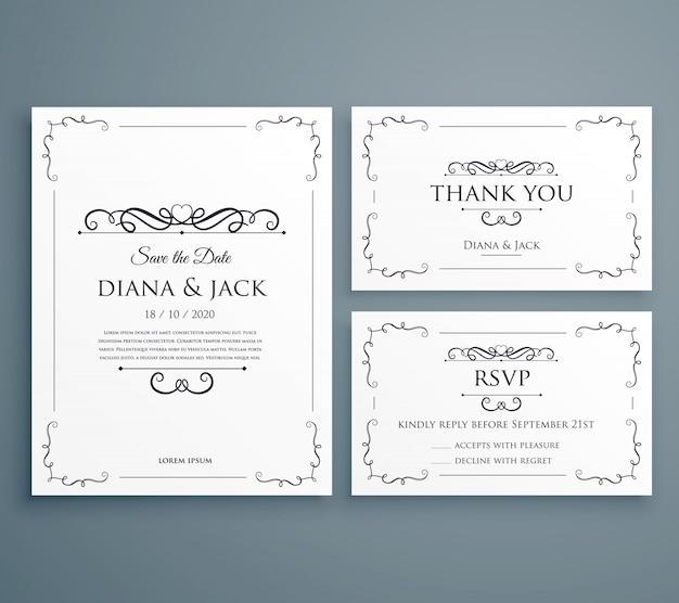 きれいな結婚式の招待状は、日付のテンプレートデザインを保存するカード 無料ベクター