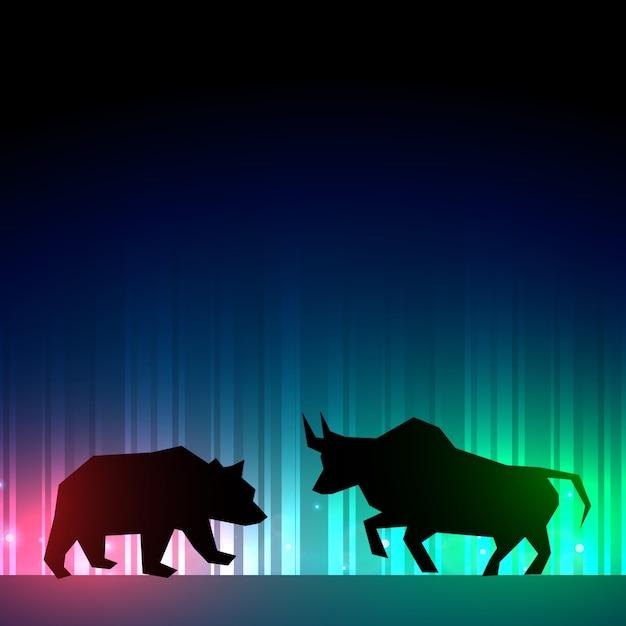 Фондовый рынок иллюстратор с быком и медведем Бесплатные векторы