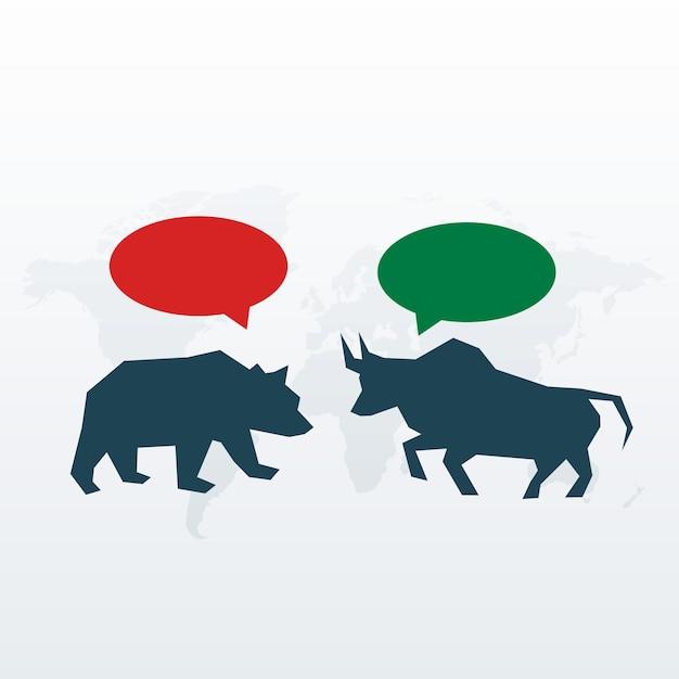 Бык и медведь с символом чата для фондового рынка Бесплатные векторы
