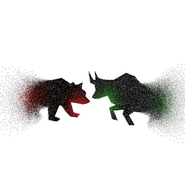 Дизайн концепции быка и медведя с частицами Бесплатные векторы
