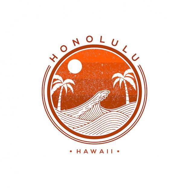 Гонолулу гавайи векторный логотип иллюстрации Premium векторы