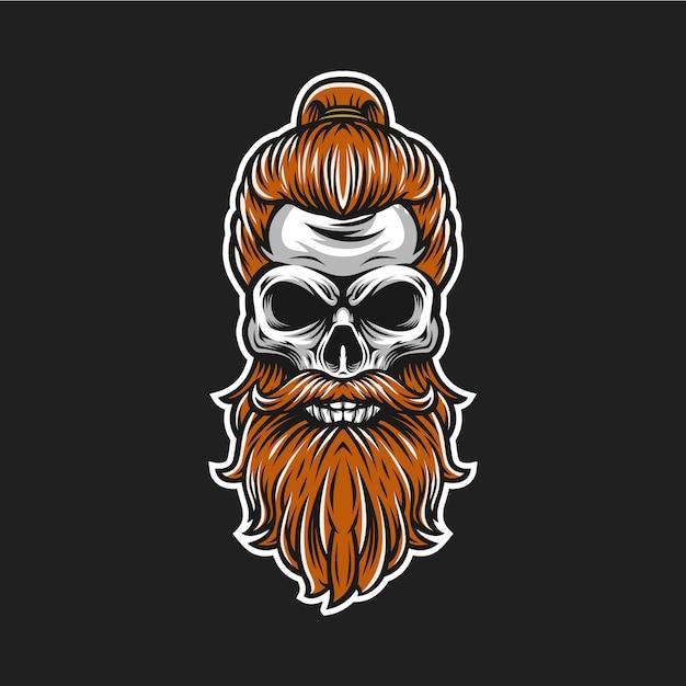Логотип борода черепа Premium векторы