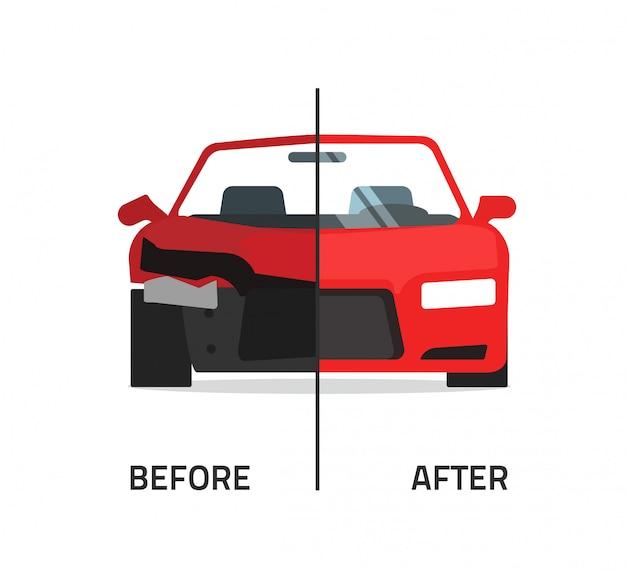 砕いて修理した車または自動ベクトル図 Premiumベクター