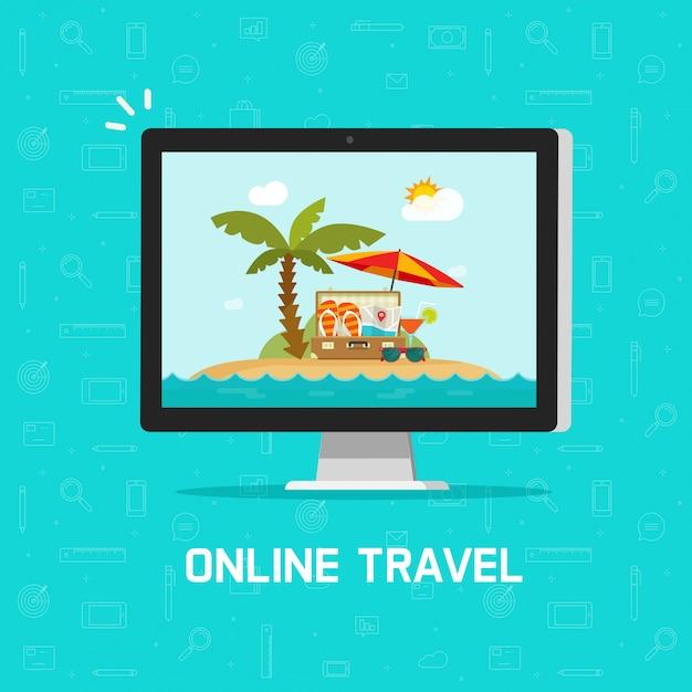 Онлайн путешествие через компьютер или путешествие курорт бронирование векторные иллюстрации плоский мультфильм дизайн Premium векторы