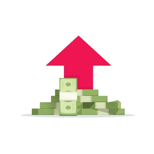 Деньги прибыль или финансовый доход роста векторные иллюстрации плоский мультфильм Premium векторы