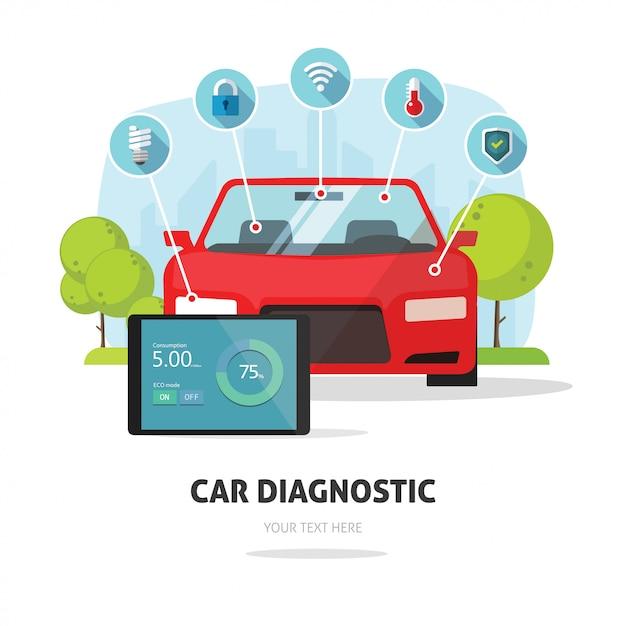 Сервис диагностики автомобилей или страховая концепция Premium векторы