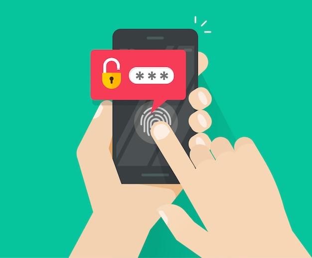 スマートフォンまたは携帯電話の指紋ボタンとパスワードによる通知のロック解除 Premiumベクター