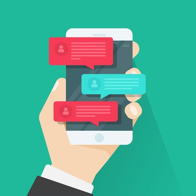 Мобильный телефон или смартфон с чатом уведомлений вектор плоский мультфильм Premium векторы