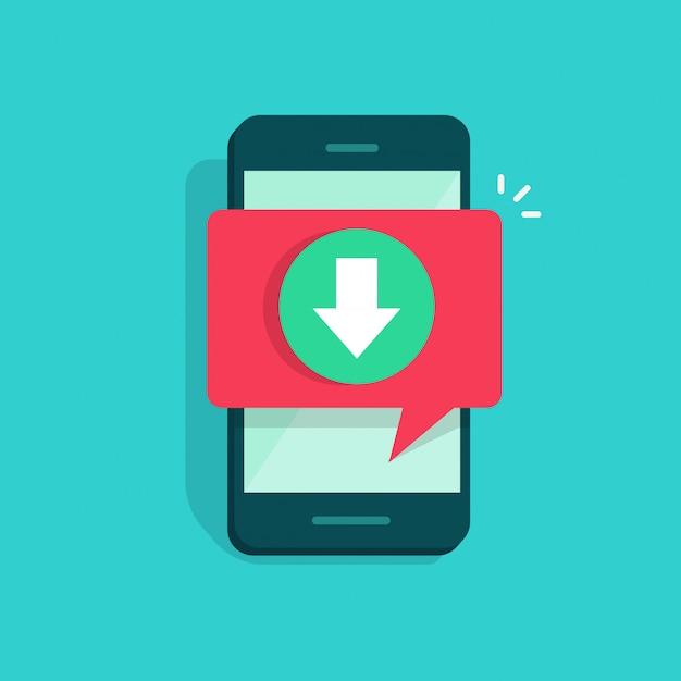 Мобильный телефон или мобильный телефон с загрузкой пузырькового речевого уведомления Premium векторы