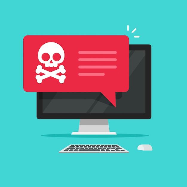 デスクトップコンピューターのベクトルフラット漫画のアラート通知または詐欺インターネットエラー Premiumベクター