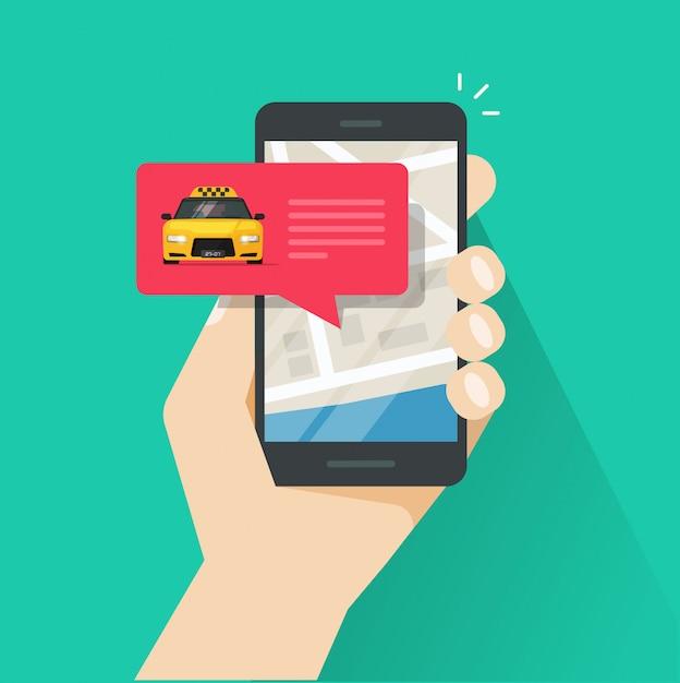 Заказ онлайн такси на карте города на сотовый телефон или мобильный телефон векторная иллюстрация мультяшный Premium векторы
