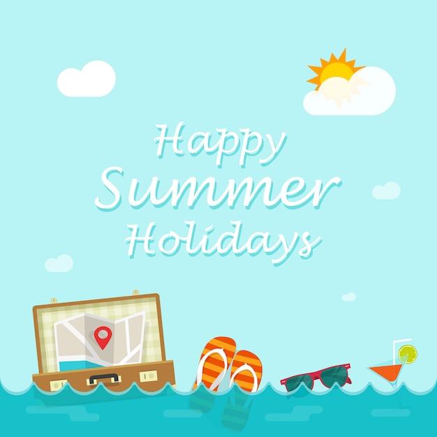 海の波に浮かぶ旅行者のものと幸せな夏休みベクトルイラスト Premiumベクター